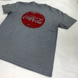 Coca Cola Stripes Grey Round Logo T-Shirt Size L
